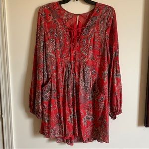 Free People Red Flowy Dress
